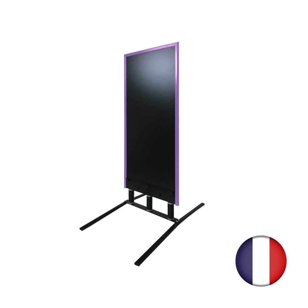 Panneau trottoir grand vent sur 3 ressorts cadre violet - Fabrication FR