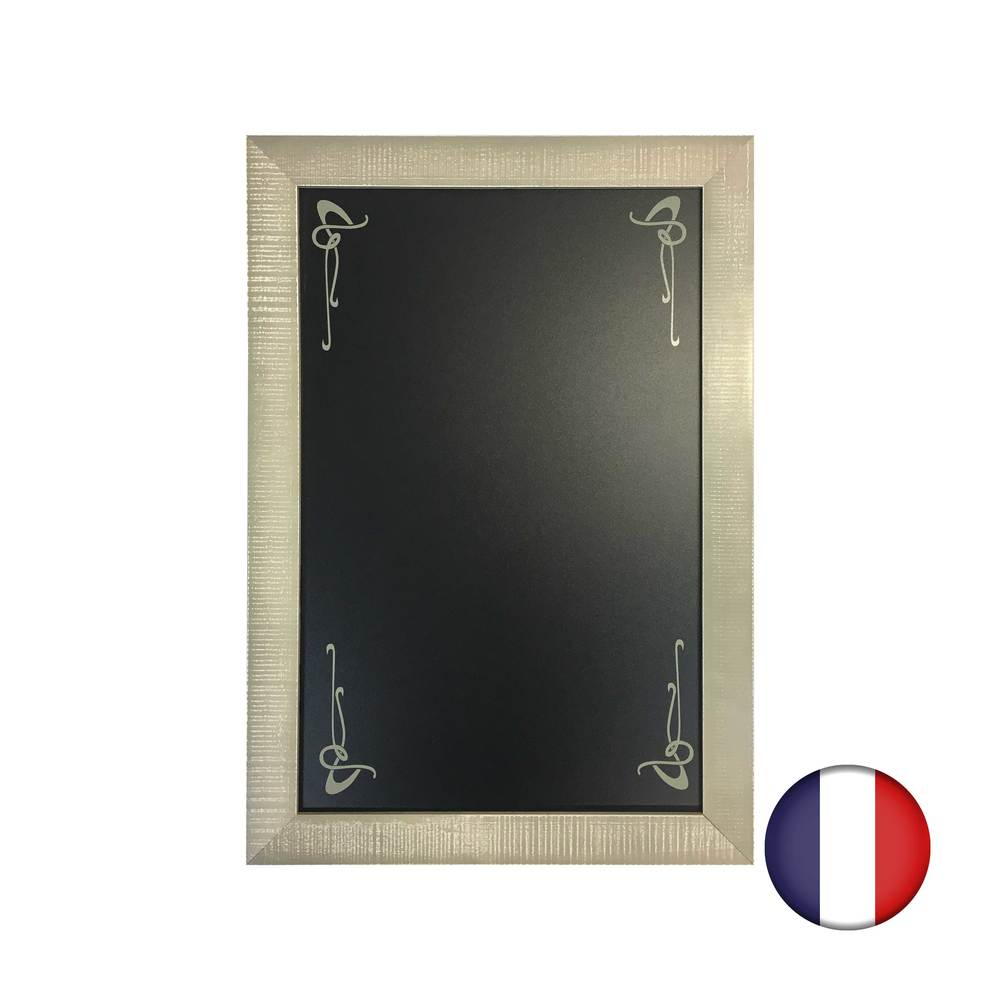 Ardoise avec arabesque et cadre bois gris patiné - Fabrication française