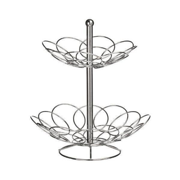Corbeille à fruits forme d'ellipse de 2 niveaux chromée - premier housewares (photo)