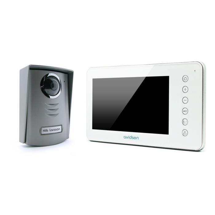 Interphone vidéo blanc 2 fils 7 pouces - nora - avidsen (photo)