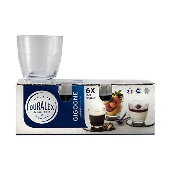 Boîte de 6 gobelets gigogne verre transparent 9 cl - duralex (photo)