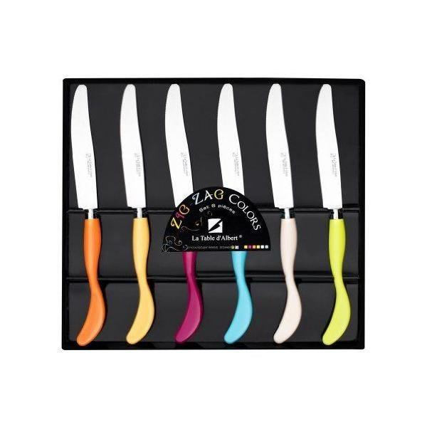 Coffret de 6 couteaux acier inoxydable - zig zag - deglon (photo)
