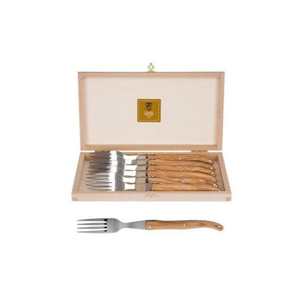 Coffret 6 fourchettes steak manche olivier - claude dozorme - laguiole (photo)