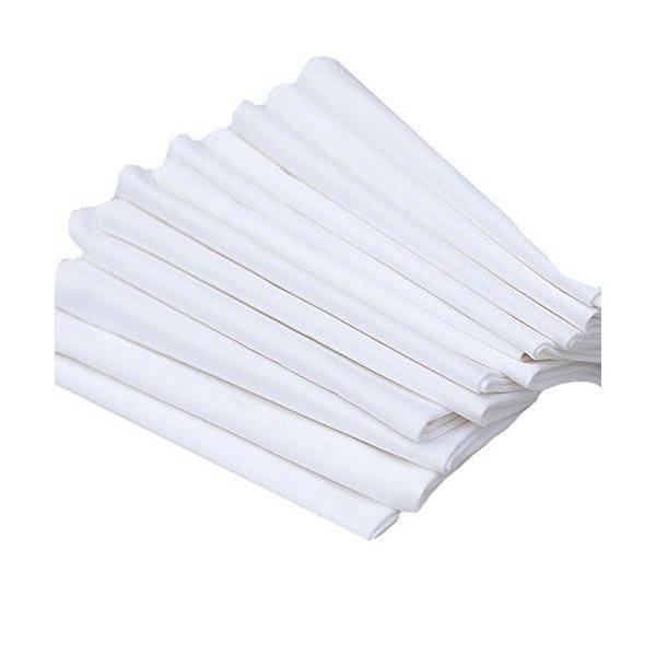 Lot de 12 serviettes de table en coton blanc 45 x 45 cm - linenme (photo)