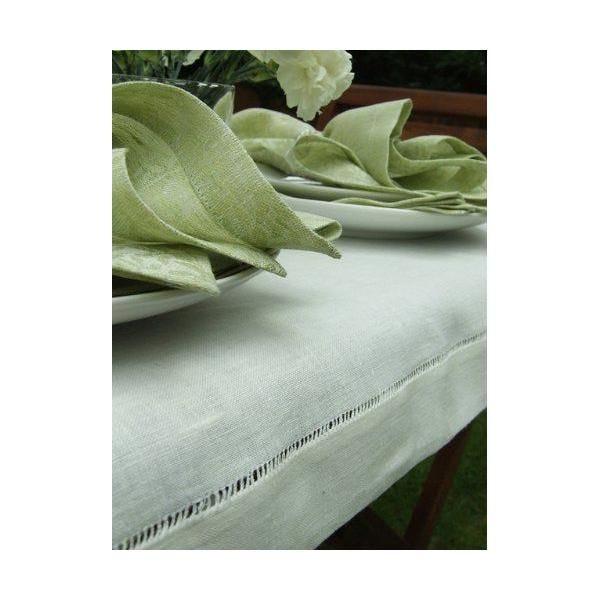 Nappe en lin 140 x 140 cm cousue main blanc cassé - diana - linenme (photo)