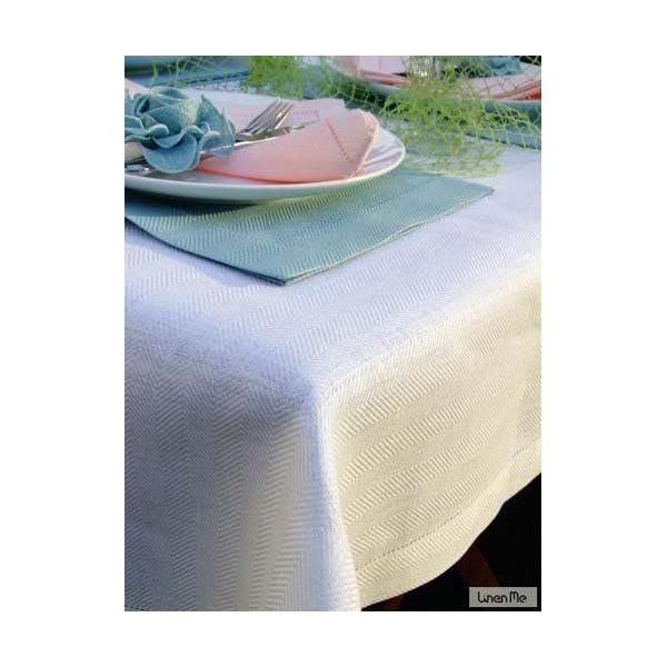 Nappe en lin 140 x 250 cm blanc - emilia - linenme (photo)