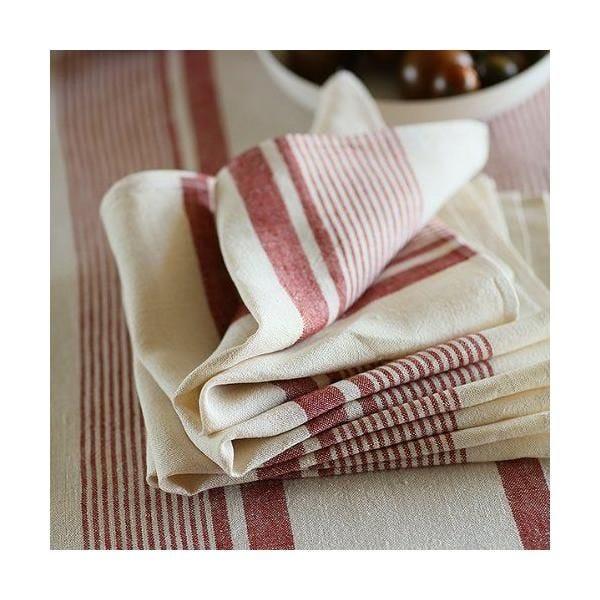 Serviette de table en lin coloris créme à rayures rouges - antico due - linenme (photo)