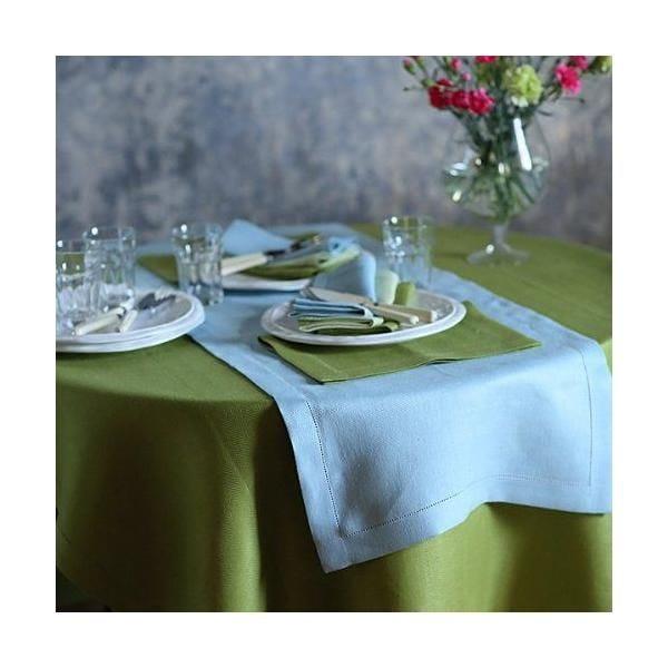 Chemin de table en lin 40 x 200 cm coloris bleu ciel - emilia - linenme (photo)
