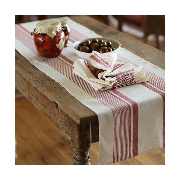Chemin de table en lin coloris crème rayures rouges - antico due - linenme (photo)