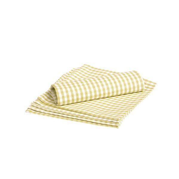 6 serviettes de table à carreaux ourlet simple blanc/vert 45x45 cm - vaitkute (photo)