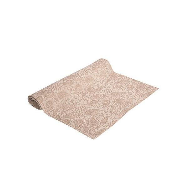 Chemin de table pur lin paisley blanc 47x145 cm - agila jacquard - vaitkute (photo)