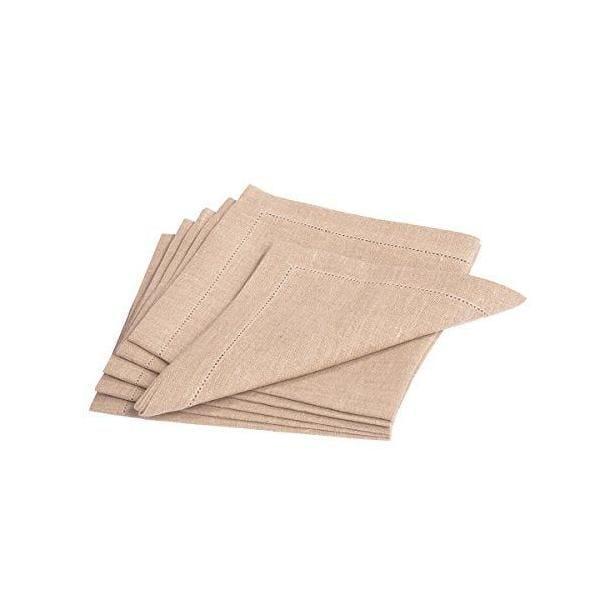 6 serviettes de table pur lin  fin ourlet bordeaux 42x42 cm - alanta -vaitkute (photo)