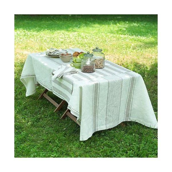 Nappe de table en lin 132x250cm blanc crème/gris - tuscany - linenme (photo)