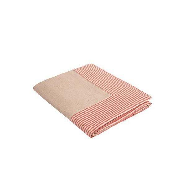 Nappe couleur naturelle bordure à rayures rouges 130x170 cm - milda -vaitkute (photo)