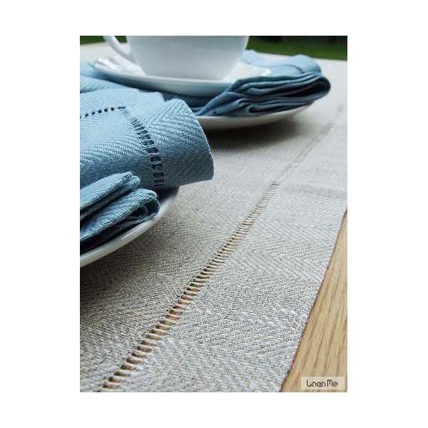 Chemin de table en lin 40 x 250 cm naturel - emilia - linenme (photo)