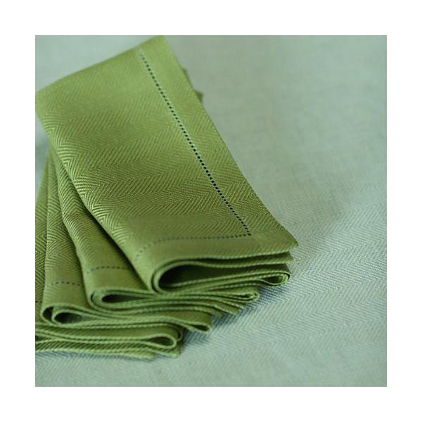 Serviette de table en lin coloris vert forêt - emilia - linenme (photo)
