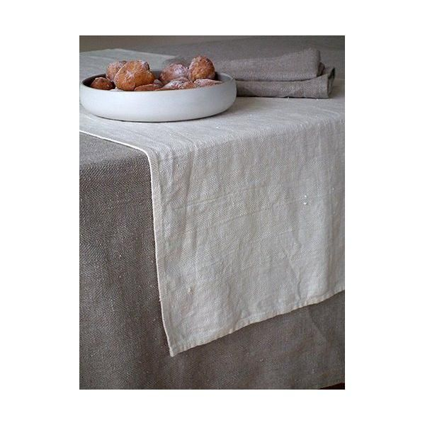 Chemin de table en lin coloris crème - lara -  linenme (photo)