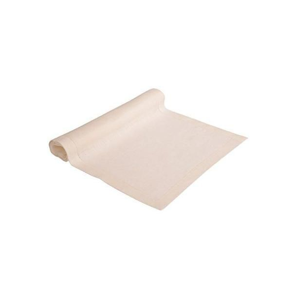 Chemin de table pur lin fin ourlet blanc cassé 40x160 cm - alanta - vaitkute (photo)