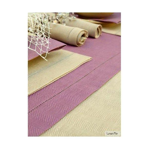 Chemin de table en lin 40 x 250 cm coloris mauve - emilia - linenme (photo)