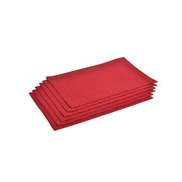 6 serviettes de table pur lin  fin ourlet bordeaux 38x50 cm - alanta - vaitkute (photo)