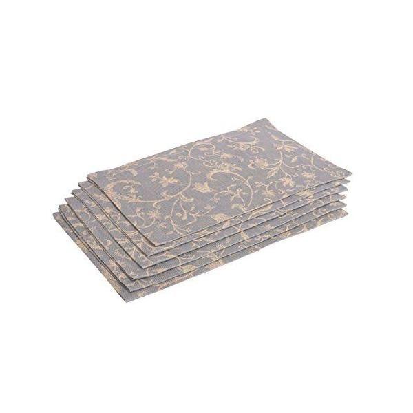6 serviettes de table bleu foncé/beige 38x50 cm - minija jacquard - vaitkute (photo)