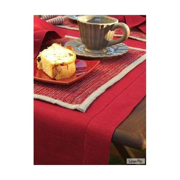 Chemin de table en lin  40 x 250 cm coloris bourgogne - emilia - linenme (photo)