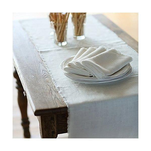 Chemin de table 45x183cm blanc cassé - collection rustic - linenme (photo)