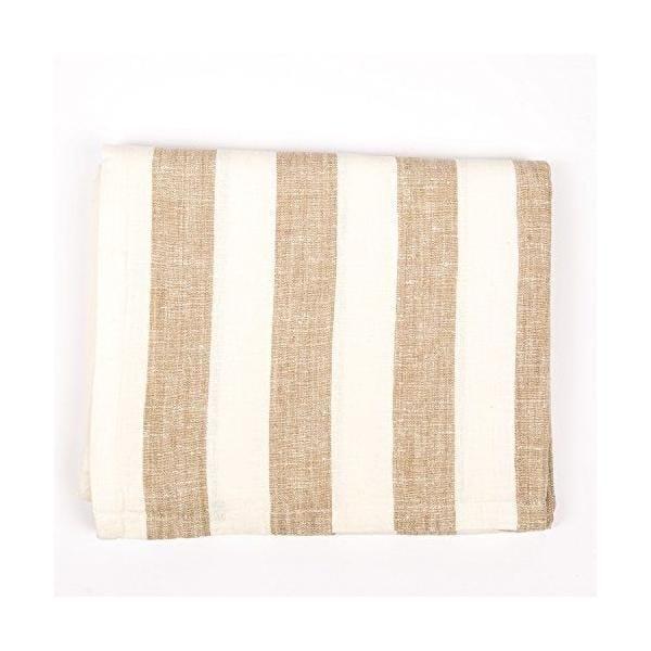 Nappe en lin 132x140 cm blanc cassé/gris - philippe - linenme (photo)