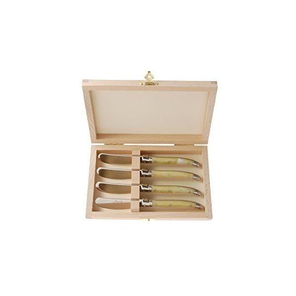 Ménagère avec 4 couteaux à beurre en bois ivoire - laguiole