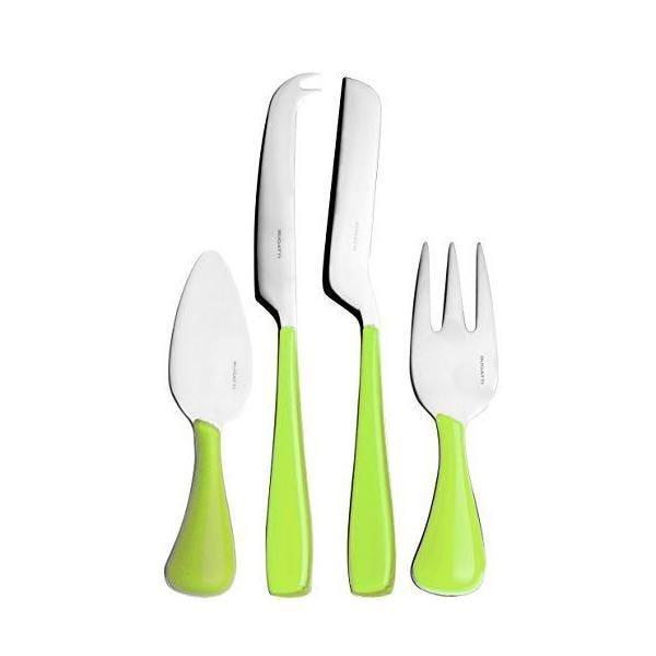 Ménagère 4 pièces couteau à fromage san/acier vert 16x26x3 cm -essenza- bugatti
