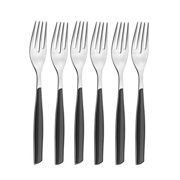Ménagère 6 pièces fourchette dessert san/acier noir 16x26x3 cm -glamour- bugatti