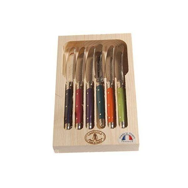 Ménagère avec 6 couteaux à beurre - multicolore - london - laguiole