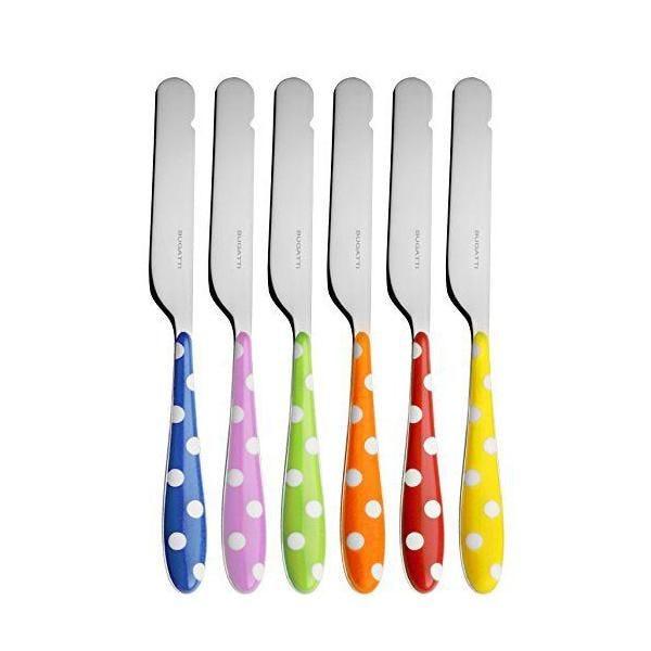 Ménagère 6 pièces tartineur san/acier multicolore 16x20x3 cm - pois - bugatti