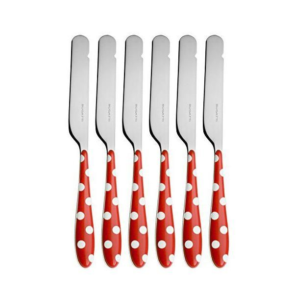 Ménagère 6 pièces tartineur san/acier rouge 16x20x3 cm - pois - bugatti