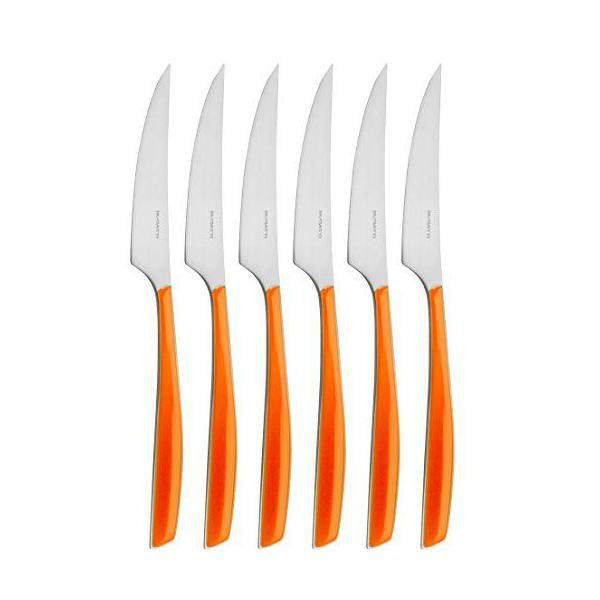 Ménagère 6 pièces couteau dessert san/acier orange 16x26x3 cm-glamour - bugatti