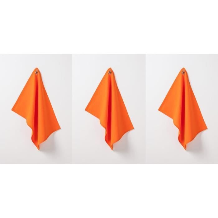 Lot de 3 torchons coton 50x70cm mandarine - today (photo)