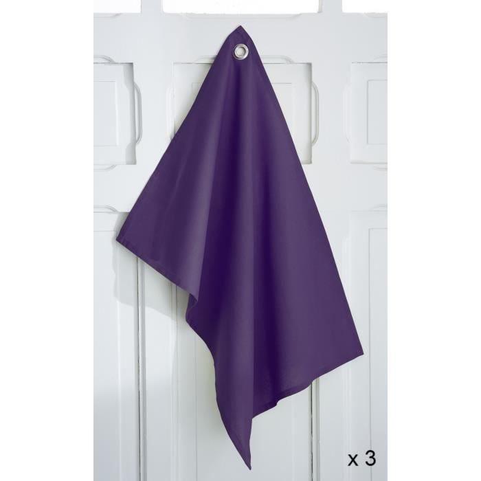 3 torchons 50x70cm coton deep purple - today (photo)