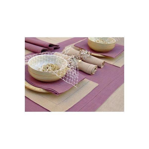 Set de 4 napperons 35x50 cm sable - emilia - linenme (photo)