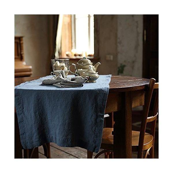 Chemin de table en lin 50x170 cm lavé, aloe green - 10 pièces - linenme (photo)