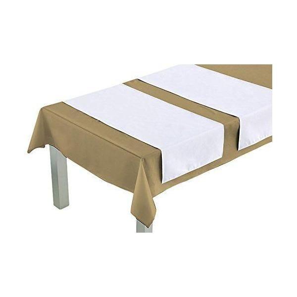 Chemin de table blanc 140x45x0,5 cm - comptoir du linge (photo)