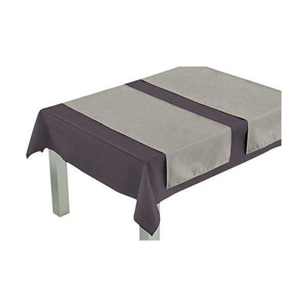 Chemin de table polyester/coton gris perle 140x45x0,5 cm - comptoir du linge (photo)