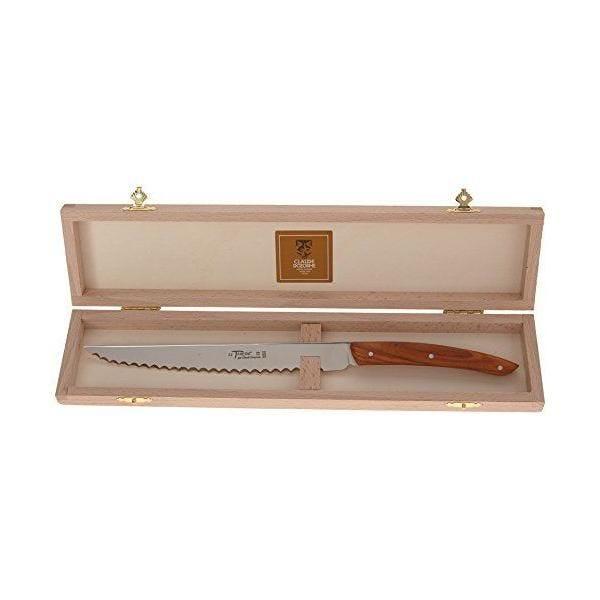 Coffret couteau à pain manche olivier 32x3 cm - laguiole claude dozorme (photo)