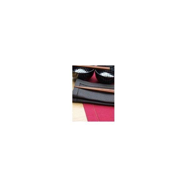 Chemin de table en lin & coton 40x250 cm rouge bordeaux - emilia - linenme (photo)