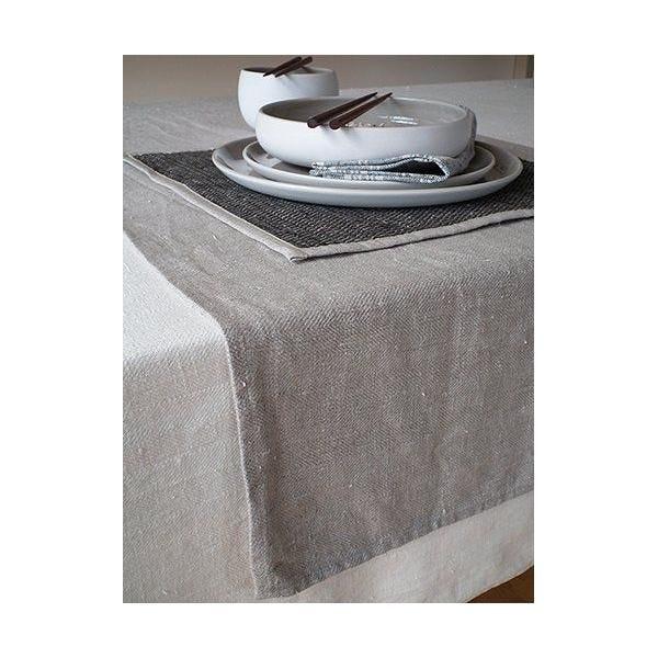 Chemin de table en lin 50x140 cm teintes naurelles - lara - linenme (photo)