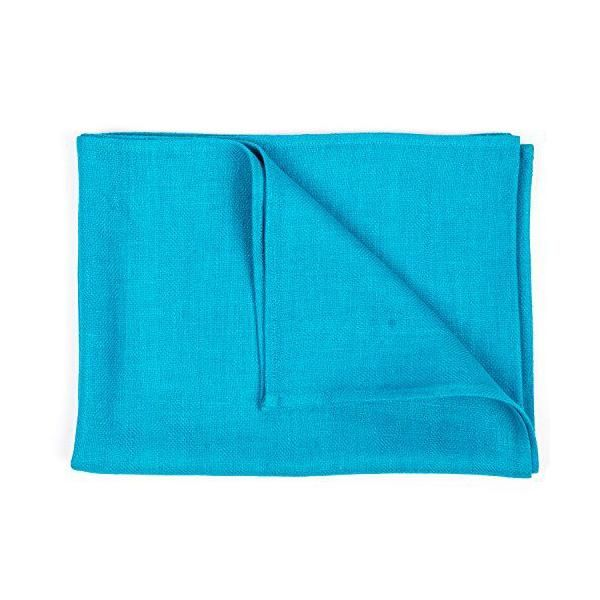 Chemin de table en lin 41x250 cm bleu turquoise - lara- linenme (photo)