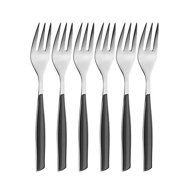 Ménagère 6 pièces fourchette à gâteau san/acier noir 16x20x3 cm-glamour- bugatti