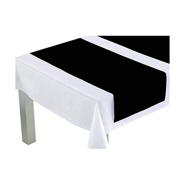 Chemin de table polyester/coton noir 140x45x0,5 cm - comptoir du linge (photo)