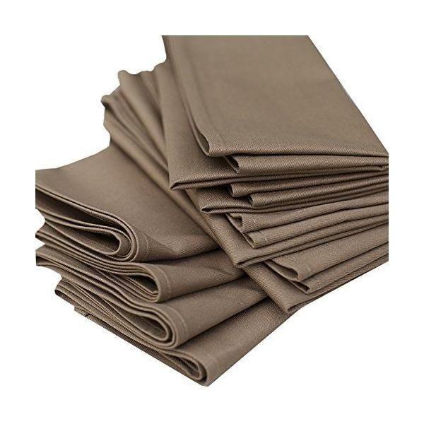 Set de 12 serviettes de table 45x45cm coton plain caramel - linenme (photo)