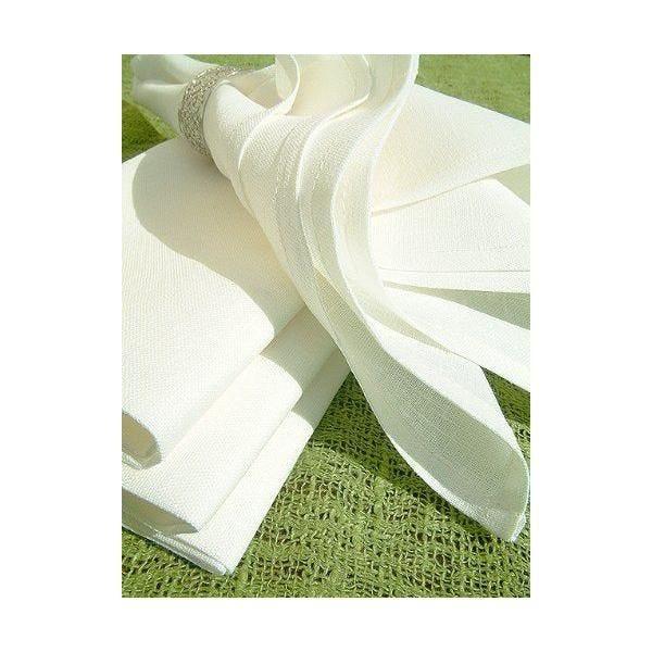 Lot de 4 serviettes de table en coton/lin blanc 45 x 45 cm - lucia - linenme (photo)