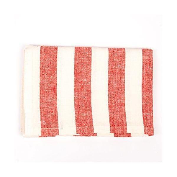 Nappe en lin 132x140 cm blanc cassé/rouge - philippe - linenme (photo)
